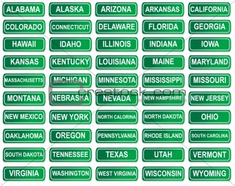 Set of American State signs