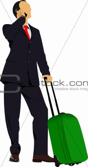 Business man with suitcase. Vector illustration