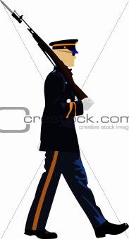 American soldier during a military parade. Vector illustration o