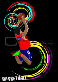 Poster of Basketball player. Colored Vector illustration for des