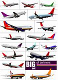 Big set 0f  Airliners. Vector illustration