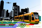 Abstract urban hi-tech background with tram on city background.