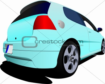 3-doors light blue hatchback car on the road. Vector illustratio