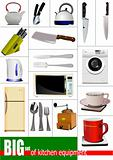 Big set of kitchen equipment. Vector