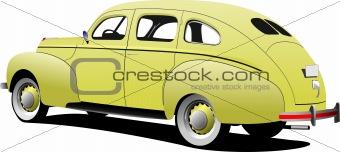 1950's Luxury sedan on isolated background. Vector illustration
