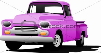 Old pink pickup with badges removed.