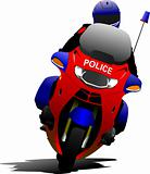Policeman on police motorcycle on the road. Vector illustration