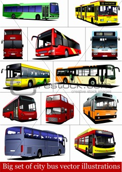 Big set of City buses. Tourist coach. Vector illustration for de