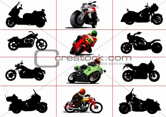 Big set of motorcycles. Black and white and color Vector illustr