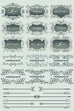 Blue vintage restaurant labels and dividers