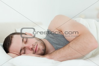 Calm man sleeping
