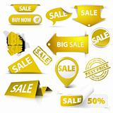 Collection of vector golden yellow sale tickets, labels, stamps