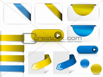Blue and yellow vector elements for web pages