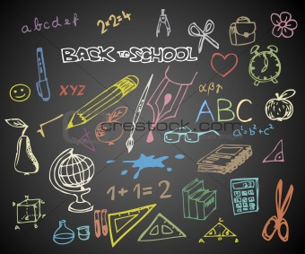 Back to school - set of school doodle vector illustrations