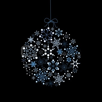 Christmas ball made from blue snowflakes