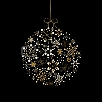 Christmas ball made from golden snowflakes