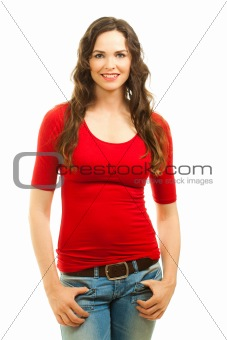 Isolated portrait of beautiful woman in red