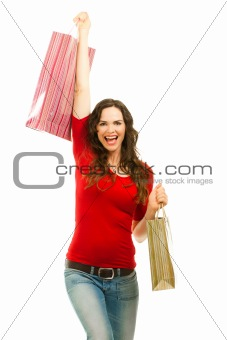 Beautiful woman happy to finish christmas shopping