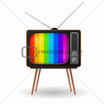 Retro TV with color frame