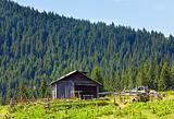 Summer mountain farm shed