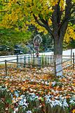 Christianity cross near autumn  road