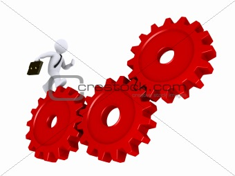 Businessman running on cogs