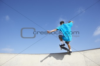 Teenage Boy In Skateboard Park