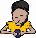 Little Girl with Cup
