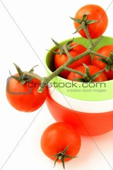 fresh cherry tomatoes  over white