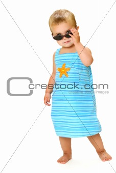 kid with sunglasses on white background