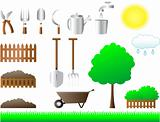 set of tools for house and garden