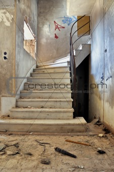 vintage staircase and dirty floor