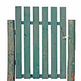 Wooden Gate, Aged Green Weathered Isolated Garden Fence Entrance