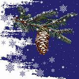 Fir Tree Branch With Cone And Snow Background