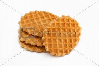 Four waffles on white