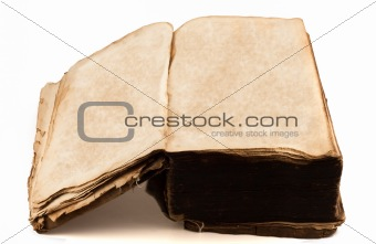 Antique tome opened with blank pages