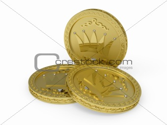 Three golden coins with flowery patterns