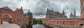 Panorama of Frederiksborg castle in Hillerod, Denmark