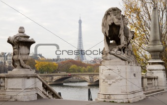 Eiffel Tower Between Statues