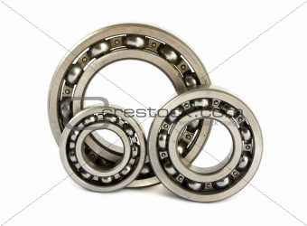 Three steel ball bearings