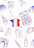France sights and symbols - seamless
