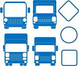 set blue trucks and bus