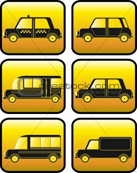set of buttons with cars silhouette
