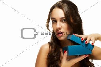 beautiful woman opening present box