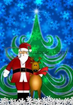 Santa and Reindeer in Winter Snow Scene