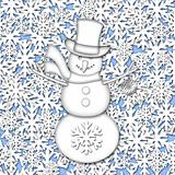 Snowman Over White Snowflakes Background