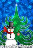 Snowman in Winter Snow Scene