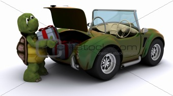 Tortoise loading christmas gift into a car