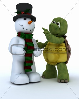 Tortoise building a snowman