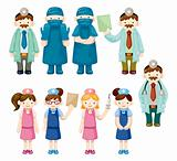 cartoon doctor and nurse icons